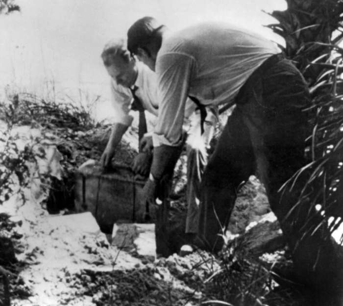 FBI Agents Digging Up the Explosives and Equipment That 4 Nazi Agents Buried in Ponte Vedra Beach, Florida During WWII